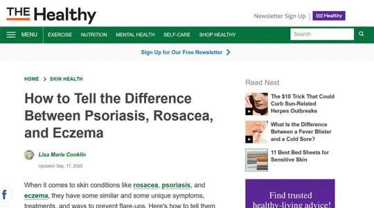 The Healthy - How to Tell the Difference Between Psoriasis, Rosacea, and Eczema