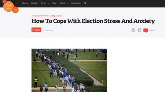 WAMU - How To Cope With Election Stress And Anxiety