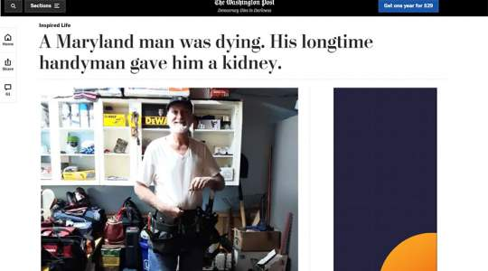 The Washington Post - A Maryland Man Was Dying. His Longtime Handyman Gave Him a Kidney.