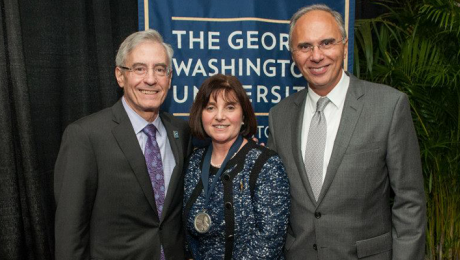From left to right: Alan Wasserman, M.D.; Nancy D. Gaba, M.D. '93, RESD '97, FACOG; and Anton N. Sidawy, M.D., M.P.H.