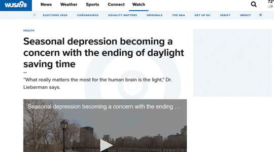 WUSA9 - Seasonal Depression Becoming a Concern with the Ending of Daylight Saving Time