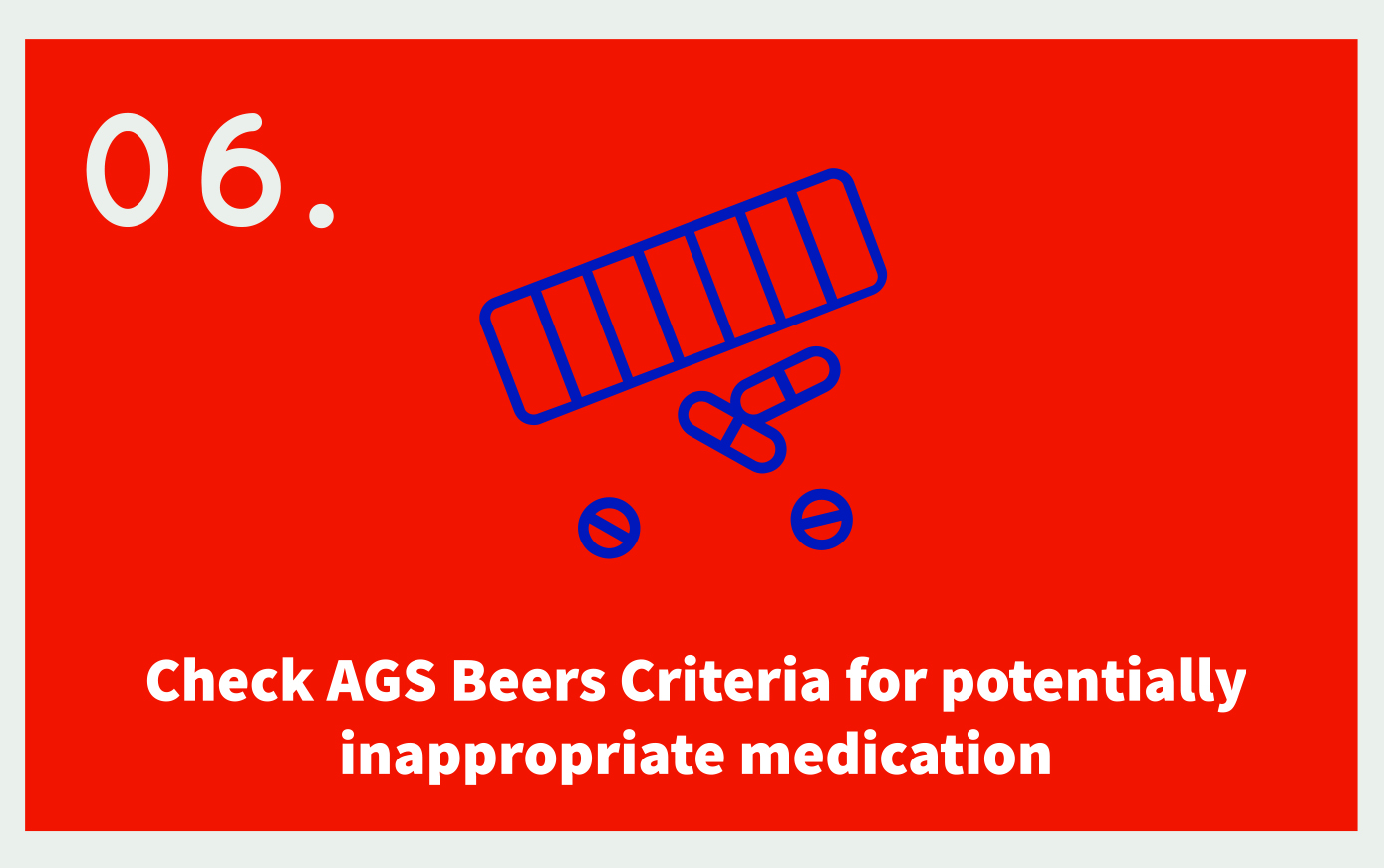06. Check AGS Beers Criteria for potentially inappropriate medication