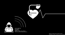 Icon of hacker sending code to a pacemaker to stop the heart
