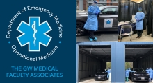 Logo: Department of Emergency Medicine - Operational Medicine - The GW Medical Faculty Associates; Pictures: home, out-patient, and drive-through testing